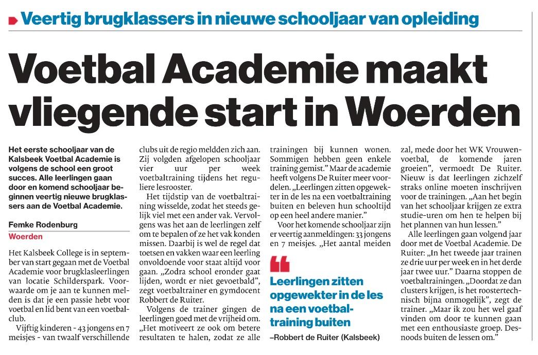 Voetbal Academie maakt vliegende start in Woerden